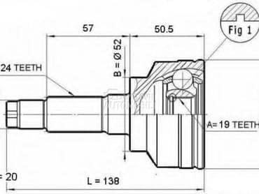 Homokineticki zglob unutr za Mazda Demio od 1998. do 2003. god.